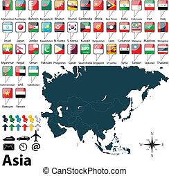 πολιτικός , χάρτηs , από , ασία