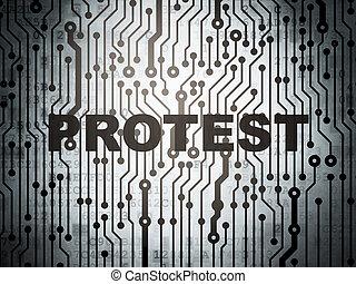 πολιτικός , concept:, αλυσίδα κινηματογράφων ή θεάτρων ταμπλώ , με , διαμαρτυρία