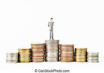 πολοί , κέρματα , λεφτά. , μινιατούρα , επιχειρηματίας , θημωνιά