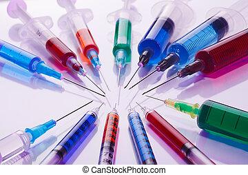 πολοί , multicolor , syringes , ιατρικός αντίληψη , εικών άψυχων πραγμάτων