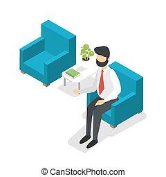 πολυθρόνα , αναμονή , επιχειρηματίας , κάθονται