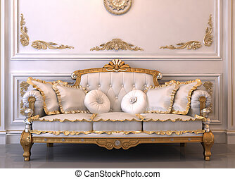 πολυτελής , αρτάνη καναπές , με , ακουμπώ το κεφάλι μου να κοιμηθώ , μέσα , βασιλικός , εσωτερικός