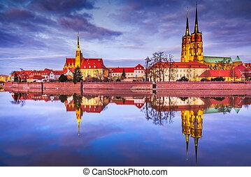 πολωνία , - , wroclaw, ποτάμι , καθεδρικόs ναόs , oder, νησί...