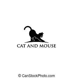 ποντίκι , γάτα , αστείος , μαύρο