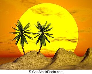 πορτοκάλι , ηλιοβασίλεμα , βάγιο , &