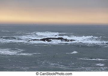 πορτοκάλι , θαλασσογραφία , ηλιοβασίλεμα