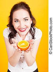 πορτοκάλι , κορίτσι , κίτρινο , αποδεικνύω