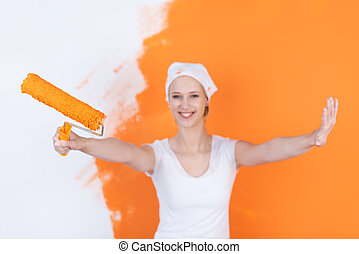 πορτοκάλι , σπίτι , γυναίκα , ζωγραφική , ευτυχισμένος