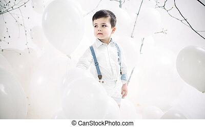 πορτραίτο , αγόρι , μπαλόνι , χαριτωμένος