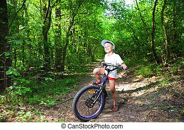 πορτραίτο , αγόρι , ποδήλατο , χαριτωμένος