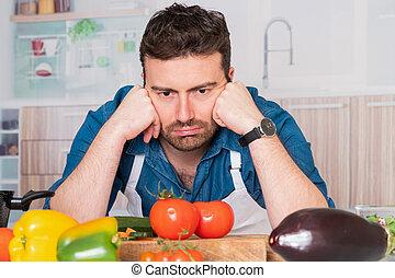 πορτραίτο , αδυνατίζω , άντραs , κουζίνα , στεναχωρήθηκα