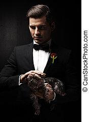 πορτραίτο , από , άντραs , με , σκύλοs , godfather-like, character.