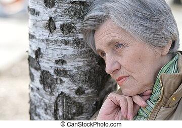 πορτραίτο , από , ένα , ηλικιωμένος γυναίκα
