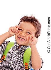 πορτραίτο , από , ένα , λατρευτός , μικρό αγόρι , με , bagpack