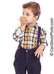 πορτραίτο , από , ένα , λατρευτός , μικρό αγόρι , στάλσιμο , ένα , φιλί