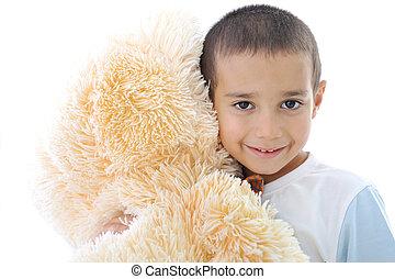 πορτραίτο , από , ένα , μικρός , παιδί , αγαπώ , δικός του , αρκουδάκι , παιχνίδι , απομονωμένος , μέσα , άσπρο