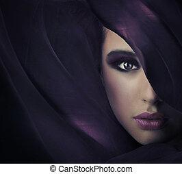 πορτραίτο , από , ένα , νέος , ομορφιά , αφθονία , από ,...