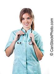 πορτραίτο , από , ένα , νέος , χαμογελαστά , γυναίκα γιατρός