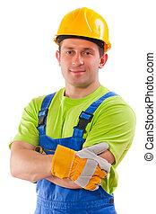πορτραίτο , από , εργάτης , απομονωμένος
