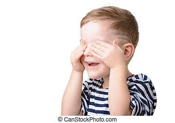 πορτραίτο , από , μικρό αγόρι , αδιαπέραστος άποψη , με , δικός του , ανάμιξη