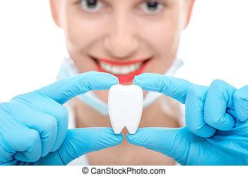 πορτραίτο , από , οδοντίατρος , με , δόντι , αναμμένος αγαθός , φόντο