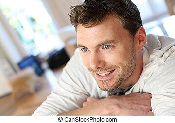 πορτραίτο , από , ωραία , άντρας , με , γαλάζιο άποψη