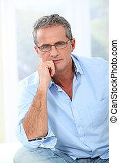 πορτραίτο , από , ωραία , άντραs , με , γυαλιά