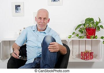 πορτραίτο , από , ωραία , αναπτυγμένος ανήρ , με , γαλάζιο πουκάμισο