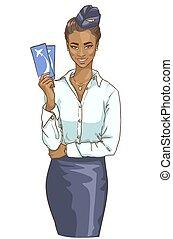 πορτραίτο , από , όμορφος , μαύρο γυναίκα