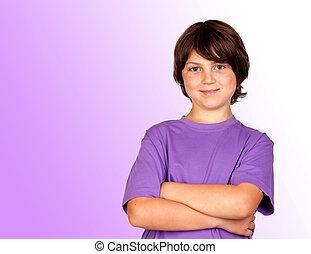 πορτραίτο , αστείος , φακιδωμένος , αγόρι