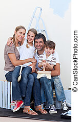 πορτραίτο , βάφω , δωμάτιο , οικογένεια , ευτυχισμένος