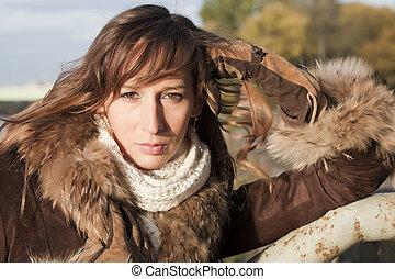 πορτραίτο , γυναίκα , παλτό