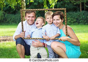 πορτραίτο , διατυπώνω , κήπος , οικογένεια , νέος