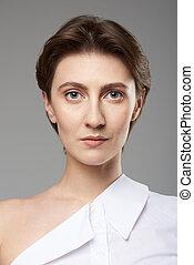 πορτραίτο , ευθεία , γυναίκα , νέος
