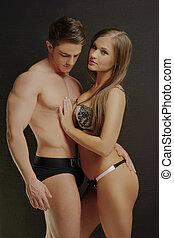 πορτραίτο , ζευγάρι , ζεστός , νέος , πολύ , ελκυστικός προς το αντίθετον φύλον