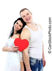 πορτραίτο , ζευγάρι , νέος , ρομαντικός