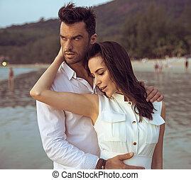 πορτραίτο , ζευγάρι , νέος , ρομαντικός , ελκυστικός