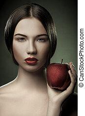 πορτραίτο , καυκάσιος , γυναίκα , μήλο , νέος