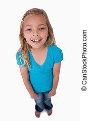 πορτραίτο , κορίτσι , χαριτωμένος , χαμογελαστά , φωτογραφηκή μηχανή