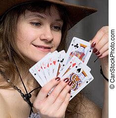 πορτραίτο , κορίτσι , playing-cards