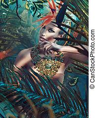 πορτραίτο , κυρία , ελκυστικός , ξανθή , ζούγκλα