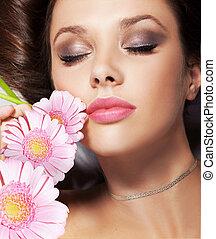 πορτραίτο , λουλούδια , κυρία , ομορφιά