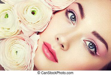 πορτραίτο , νέος , λουλούδια , γυναίκα , όμορφος