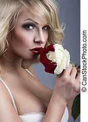 πορτραίτο , ξανθομάλλα , γκρο πλαν , άσπρο , - , γυναίκα , ros, κόκκινο , όμορφος