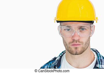 πορτραίτο , προστατευτικός , κουραστικός , eyewear , hardhat , αρχιτέκτονας