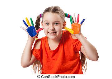 πορτραίτο , χαριτωμένος , κορίτσι , παίξιμο , απεικονίζω