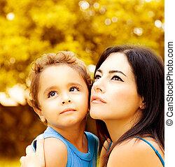 πορτραίτο , closeup , μητέρα , υιόs