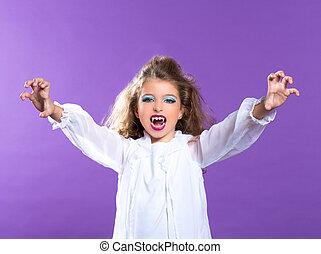 πορφυρό , μακιγιάζ , βρυκόλακας , κορίτσι , παιδιά , παιδί
