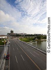 ποτάμι , και , γέφυρα , κάτω από , ο , γαλάζιος ουρανός , μέσα , κίνα