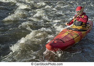 ποτάμι , kayaker , αναδευτήρας